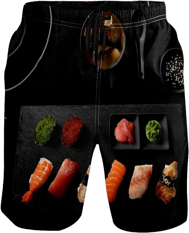 Men's Swim Trunks Delicious Sushi Beachwear Board Shorts Quick Dry Beach Shorts S