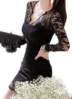 QS.HRD レディース ?????? セクシー ドレス Vネック 長袖 シースルー ワンピ レース スリム ミニ ドレス ?????? 結婚式 女子会