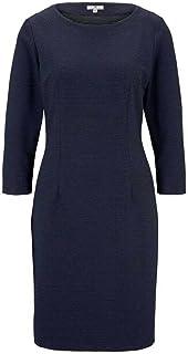 Tom Tailor Women's Regular Round Collar Over Knee Dress, Blue (Navy Dotted Fabric 21949)