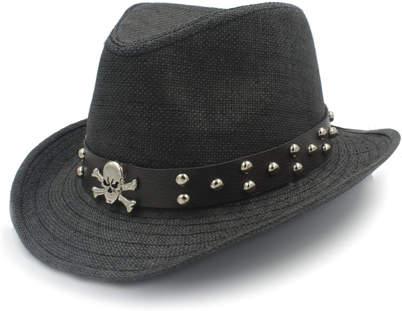 Fashion Warm Comfortable Hats for Women Fashion Women Men Straw Western Sombrero Cowboy Hats with Punk Belt