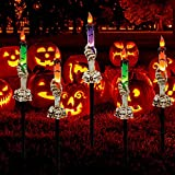 LJLNION Halloween Decorations, 5 Pack Halloween Garden Stake Lights, Tabletop Candle Light with Skeleton Ghost Hand, Waterproof & Battery Operated, Light Up Yard Stakes for Indoor/Outdoor Garden Decor