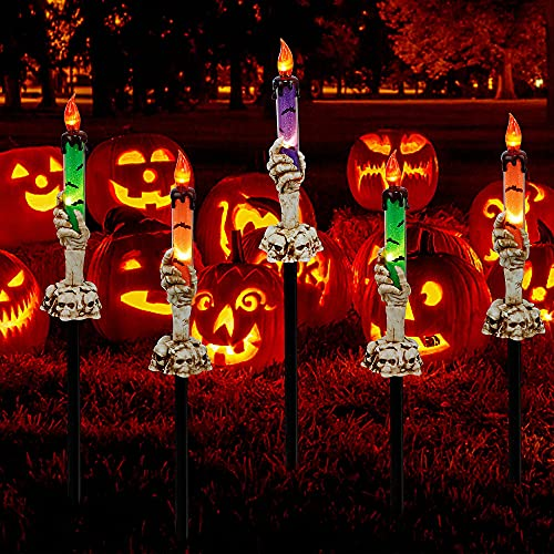 LJLNION Halloween Decorations, 5 Pack Halloween Garden Stake Lights, Tabletop Candle Light with...