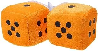 ZqiroLt Auto Anhänger, Würfel Design, Fuzzy Dots Rückspiegel Kleiderbügel Dekoration Styling Ornament 2tlg Orange