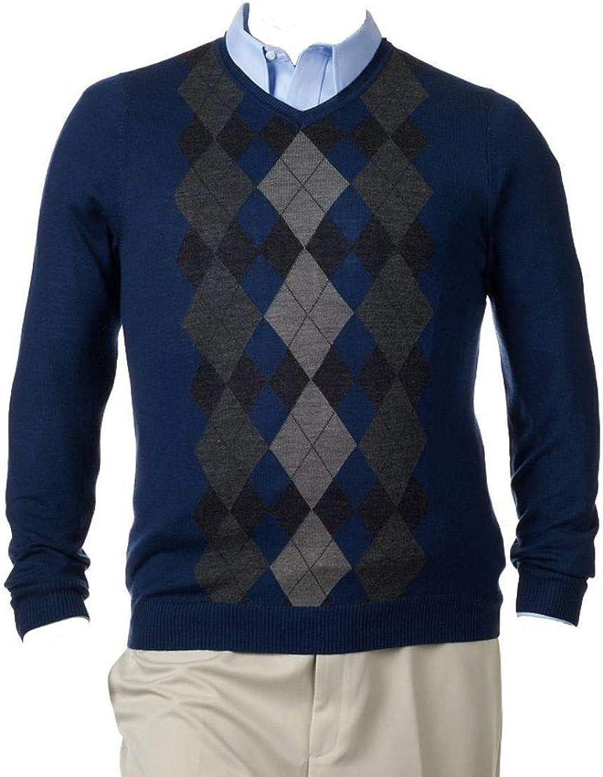 Liz CLAIBORNE's Apt 9 Merino Wool Blend Sweater V-Neck Dark Blue Charcoal Argyle