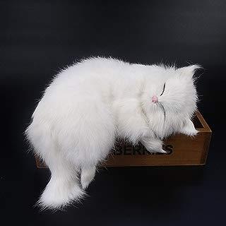 GlobalDeal Creative Simulation Cat Cute Slipper Kitten Doll Toys Animal Kids Gift Car Decor (White )