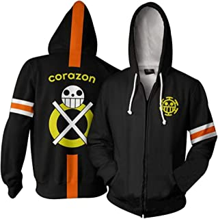 One Piece Trafalgar Law Corazon Hoodies Cosplay Costume Jolly Rogers Zip Jacket Sweatshirt Unisex