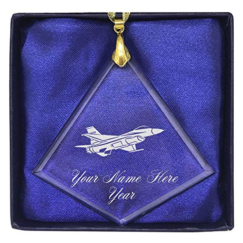 Fighter Jet 1 LaserGram Christmas Ornament Personalized Engraving Included Heart Shape
