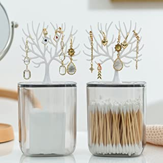 SYEHJNR Plastic Clear Cotton Swab Holder Organizer Box with a Antlers Jewelry Storage Rack Lid, Bathroom Container Dispens...