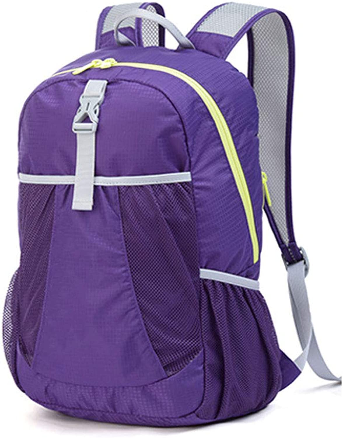 Outdoor Backpack Hiking Backpack Waterproof Mountaineering Folding Ultralight Men and Women Available Purple 22l
