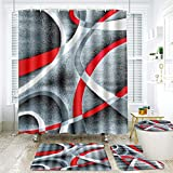 KENADVI 4 Pcs Shower Curtain Sets with Non-Slip Rug,Toilet Lid Cover and Bath Mat,Gray Black Red White Swirls,Waterproof Durable Bathroom Shower Curtains Set with 12 Hooks