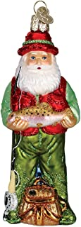 Fly Fishing Santa Glass Blown Hanging Christmas Ornament