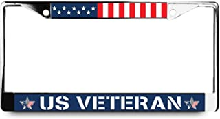 US Veteran License Plate Frame with American Flag