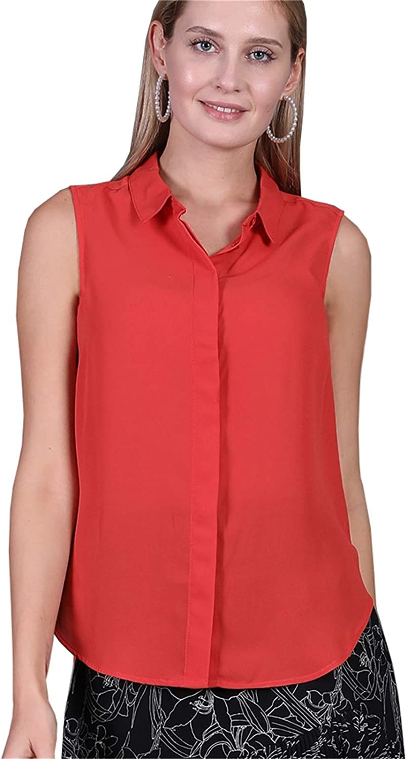 Women's Sleeveless Button Down Basic Collar Shirt Casual Loose Fit Summer Relaxed Plus Size Chiffon Blouse Tops