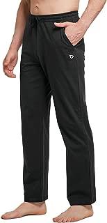 BALEAF Men's Active Yoga Pants Open Bottom Sweatpant Workout Jogger Jersey Pants Side Pocketed