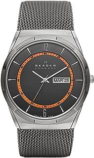 Skagen Men's Titanium Watch with Orange Accents
