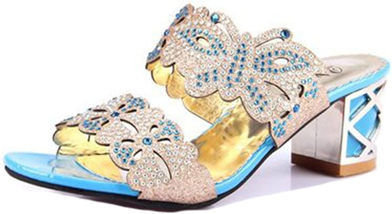 GIY Womens Fashion Rhinestone Wedges Sandals Platform Open Toe Anti-Slip Block Heel Glitter Wedding Slides