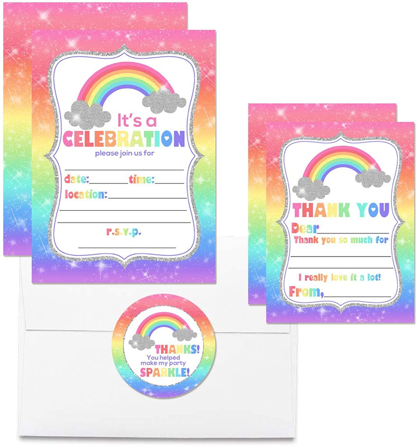 Deluxe Rainbow Sparkle Birthday Party Bundle for Girls, Includes 20 Each of 5 x7  Fill-in Invitation Cards, Thank You Cards, Thank You Party Favor Stickers and Envelopes