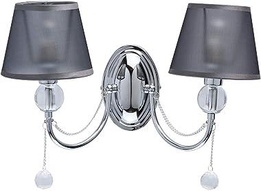 MW-Light 684021302 Applique Murale Intérieure 2 Lampes Design Moderne Métal Chromé Abat-jours Organza Noir décoré de Cristal