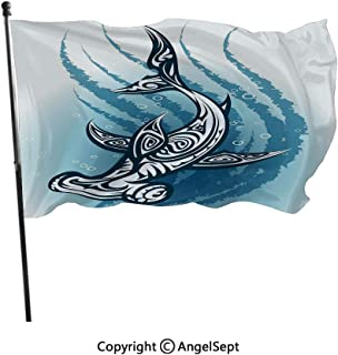 AngelSept Printed Polyester Flags Can Custom,Hammer Fish with Ornamental Ethnic Effects Swimming Ocean Image Dark and Petrol Blue White,3x5 ft,with Two Grommets