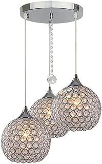 DINGGU 3 Lights Modern Crystal Ball Pendant Light Fixture Flush Mounted Ceiling Chandelier