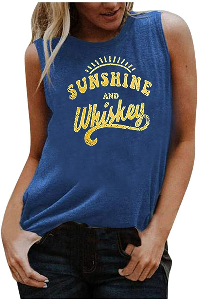 POLLYANNA KEONG Womens Tank Tops,Women's Summer New Women's Fashion Graphic Letter Printing Casual Sleeveless Tank Top