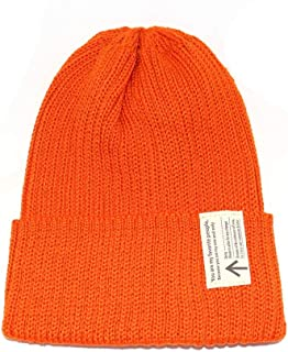 HongJie Hou Korean Version of Knitted Wool hat Lovers Fashion Hats Men and Women Outdoor Windproof caps Knit caps Student hat (Color : Orange, Size : 56-58cm)