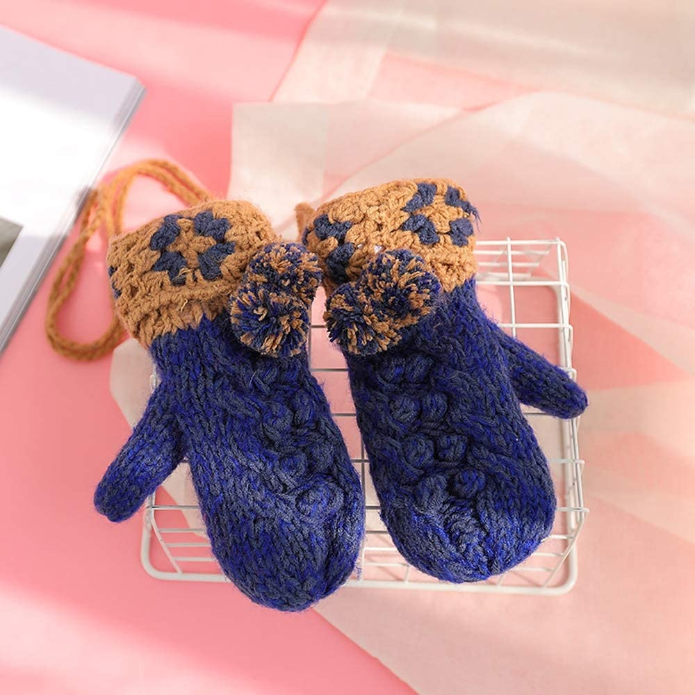 Rebily Hand Knitting Autumn and Winter Ladies Gloves Hanging Neck Plus Velvet Keep Warm Cold Protection Student Lovely Cartoon One Size Lanyard Package Gloves