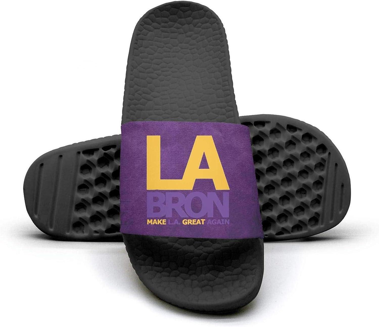 ADIDII Womens Printed Non-Slip Slipper Slides flip Flop Sandals La_Bron_Yellow_Logo_Basketball Summer Indoors