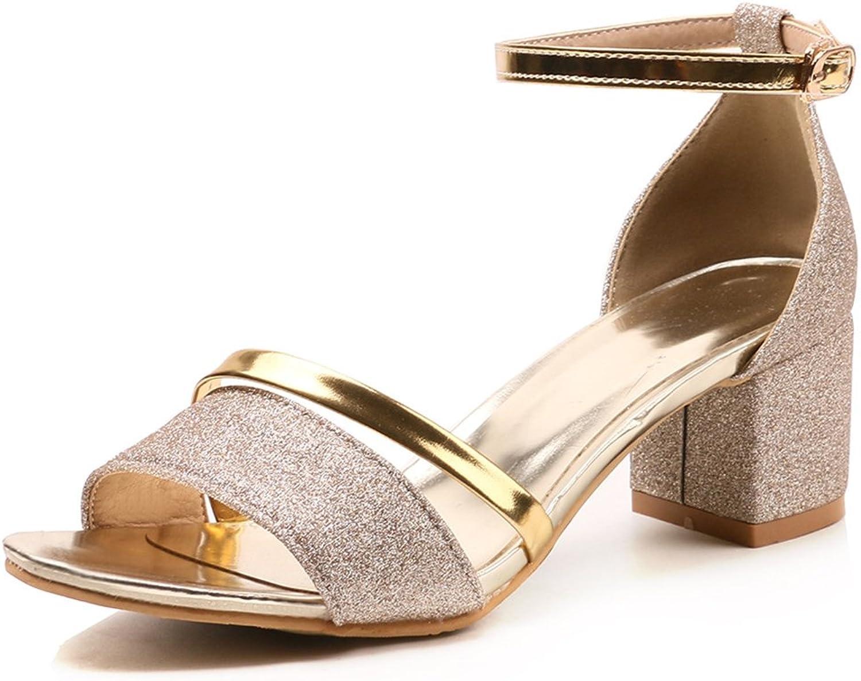 IDIFU Women's Glitter Peep Toe Chunky Mid Heeled Ankle Strap Dress Sandals