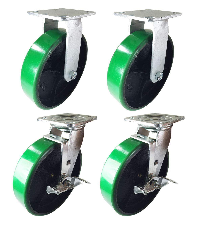 8 : 2S + 2SB 4 Heavy Duty Caster 8 Polyurethane Cast Iron Wheels Rigid Swivel /& Brake Green