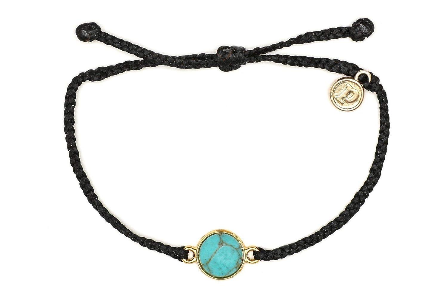 Pura Vida Rose Gold/Gold Riviera Stone Bezel Braided Bracelet Plated Charm Adjustable Band Waterproof