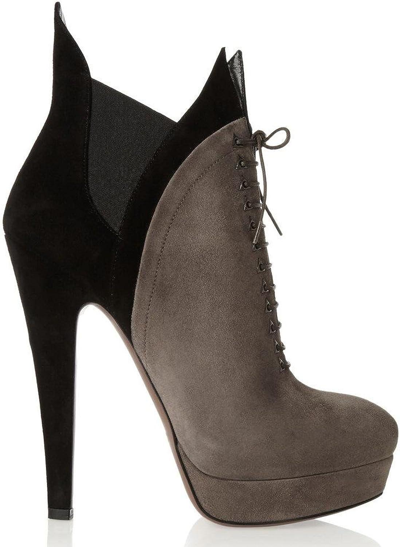 Elobaby Damenschuhe PU Herbst Winter Komfort Stiefel Blockabsatz Runde Kappe für Casual braun