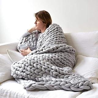 LICHUXIN Couvertures faites à la main en laine épaisse tricotée chaude et épaisse - Tapis de yoga, décoration - Couleur : ...