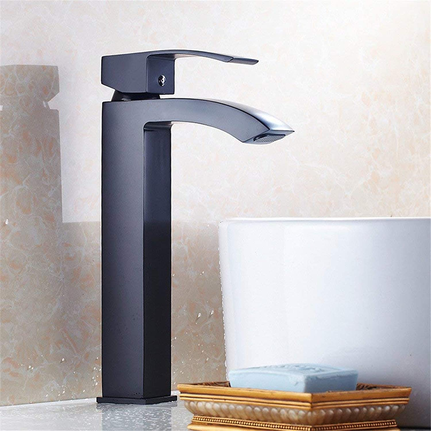 SEEKSUNG Sink Taps European Retro-Copper Plus High Basin Sickle Faucet Bathroom Basin Cold Water Tap