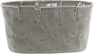 Urban Trends Ceramic Pot ed and Dimpled Design Gloss, Gray