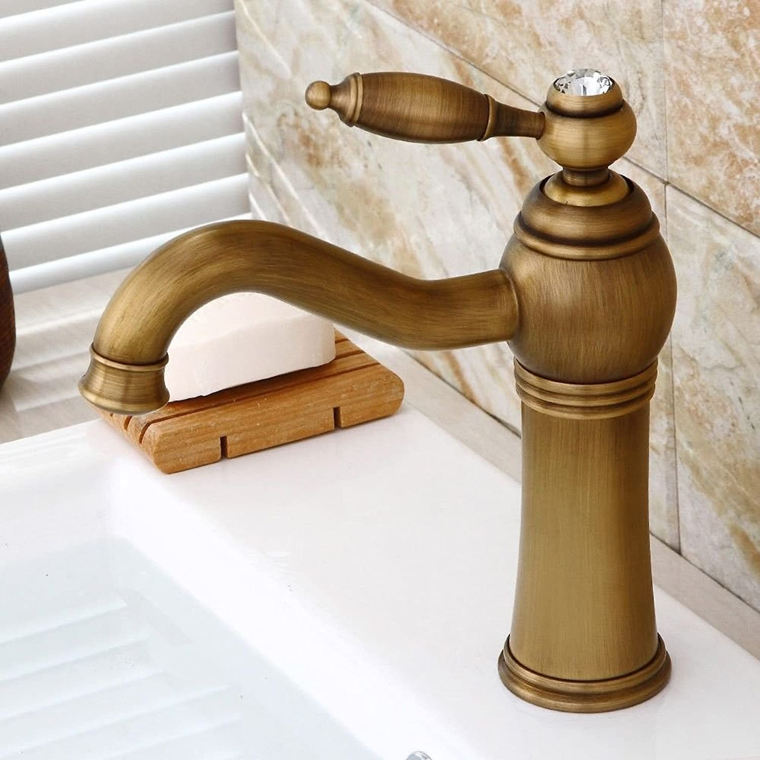 ETERNAL QUALITY Bathroom Sink Basin Tap Brass Mixer Tap Washroom Mixer Faucet To redate the antique brass crystal handle single handle one hole ceramic valve cold water b