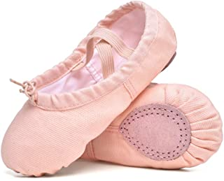 STELLE Girls Canvas Ballet Slippers Flats, Leather Soles Dance Shoes