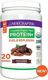 New Chapter Organic Plant Protein+ Fuel & Replenish Chocolate, 20g of Vegan Protein Powder, Plant Based Protein Powder + BCAA Amino Acids - 20 Servings, No Sugar, Low Carb Dairy Free, Non-GMO, Kosher