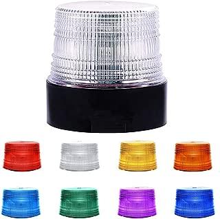 LED Beacon Strobe Light, Dinfu 8 Colors Adjustable Emergency Strobe Light with Magnetic Base for DC 12-80 V Cigarette Lighter Plug Vehicles (Clear) (Wireless Strobe Light)
