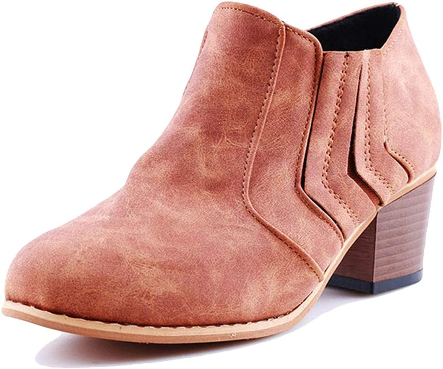 York Zhu Womens Ankle Bootie,Cut Out Slip-on High Thick Heel Riding Boot Women