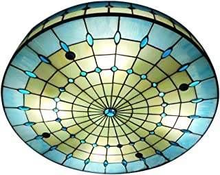 KWOKING Lighting Vintage Hand-Made Tiffany Ceiling Light Colorful and Creative Flush Mount Ceiling Ligh Special Decoration for Bedroom, Living Room, Hotel, Kitchen Blue 11.8inch