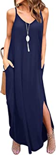 Donnalla Womens Summer Casual Loose V-Neck Dress Spaghetti Strap Sleeveless Split Maxi Dresses