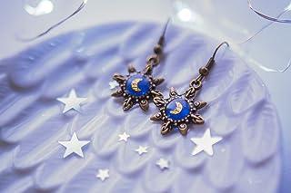 orecchini di luna d'oro, orecchini di stelle carini, regalo unico per le donne di natale, orecchini di bronzo, gioielli ca...