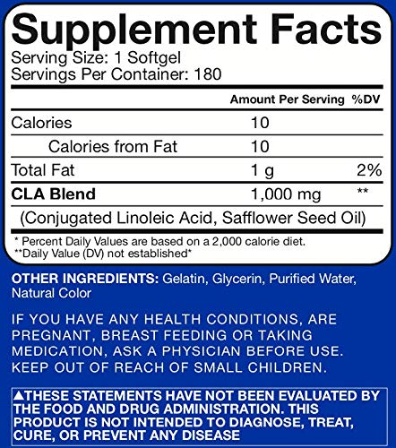 RSP CLA 1000 Conjugated Linoleic Acid Max Strength Softgels, Natural Stimulant Free Weight Loss Supplement, Fat Burner for Men & Women, 180 Ct. (Packaging May Vary) 2