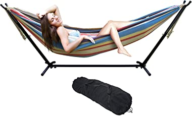 Sorbus Double Hammock with Steel Stand Two Person Adjustable Hammock Bed - Storage Carrying Case Included (Blue/Sand/Purple/R
