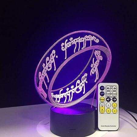 ARXYD Lampade 3D Illusione Ottica Luce Notturna Il Signore Degli Anelli Deco Lampada Led Da Tavolo Illuminazione Luce Di Notte 7 Colori Controllo Tattile Lampada