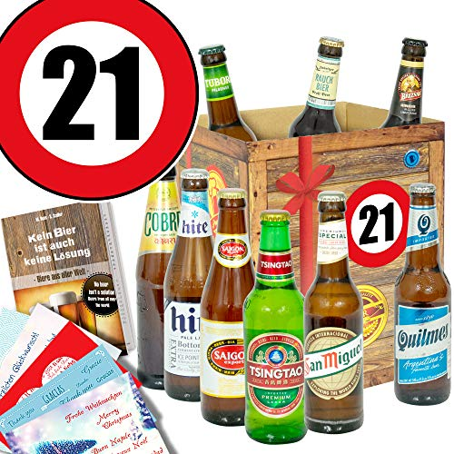 21. Geburtstag Geschenk für Freund/Biersorten aus aller Welt/Bierset
