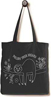 [Upgraded] Andes Heavy Duty Gusseted Canvas Tote Bag, Handmade from 12-ounce 100% Natural Cotton, Perfect for Shopping, Laptop, School Books, The Sloth Black
