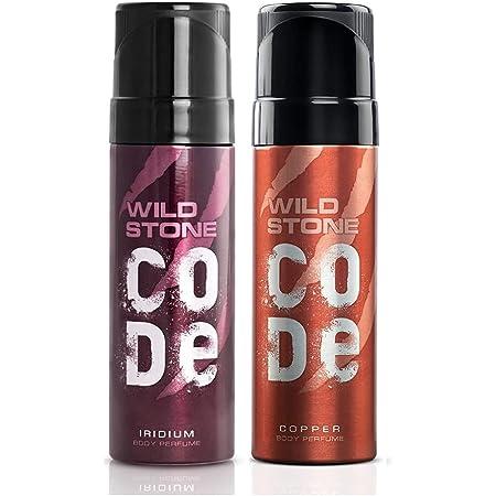 Wild Stone Code Copper & Iridium No Gas Body Perfume Combo for Men,, Pack of 2 (120 ml each)