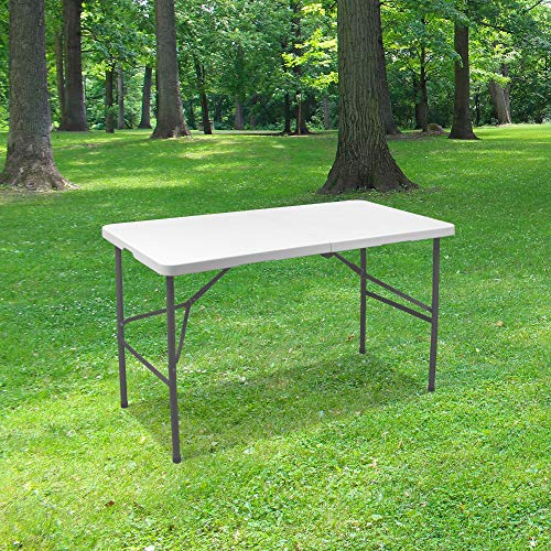 Table Pliante 120 cm d'Appoint Rectangulaire Blanche - Table de Camping 6 personnes L120 x l60 x H74cm en HDPE Haute Densité Épaisseur 3,5 cm - Pieds en Acier Pelliculé Gris - Idéal Cérémonies